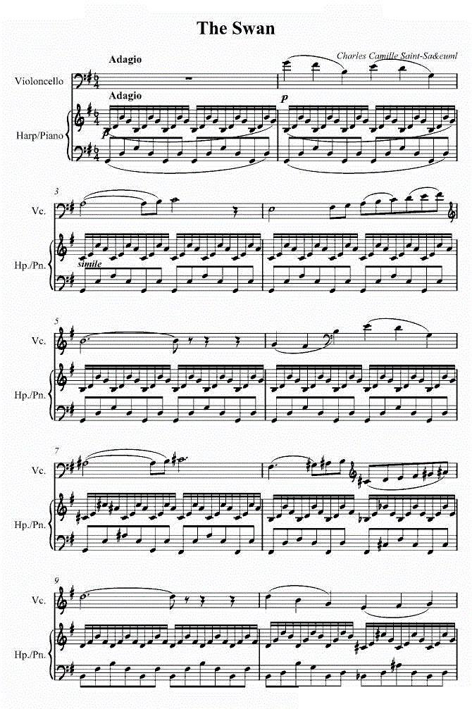 圣桑《天鹅》大提琴曲谱