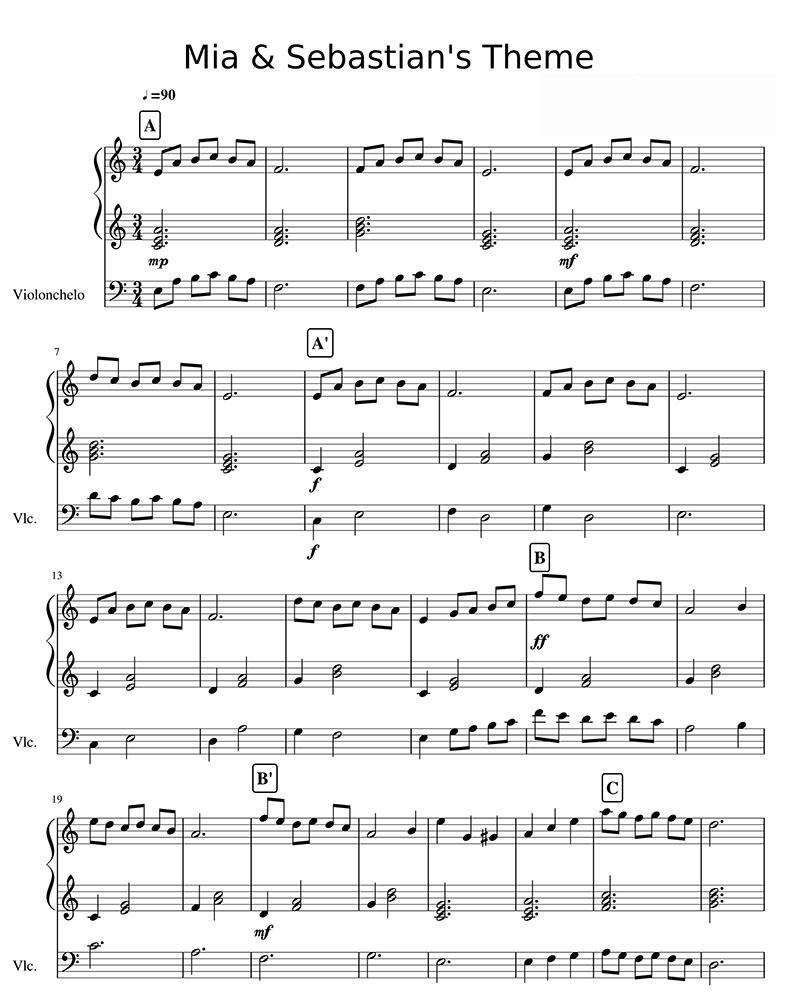爱乐之城(mia & sebastian's theme)大提琴钢琴合奏谱